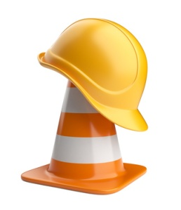 Traffic cones and hardhat. Road sign. Icon isolated on white bac