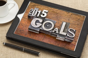 2015 goals on digital tablet