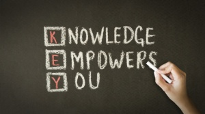 A person drawing and pointing at a Knowledge Empowers You Chalk Illustration