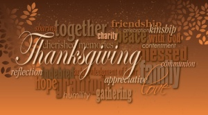Graphic typographic montage illustration of the word Thanksgiving composed of associated terms and defining words in neutral tones. A pair of autumn leaves completes this dramatic, inspirational design.